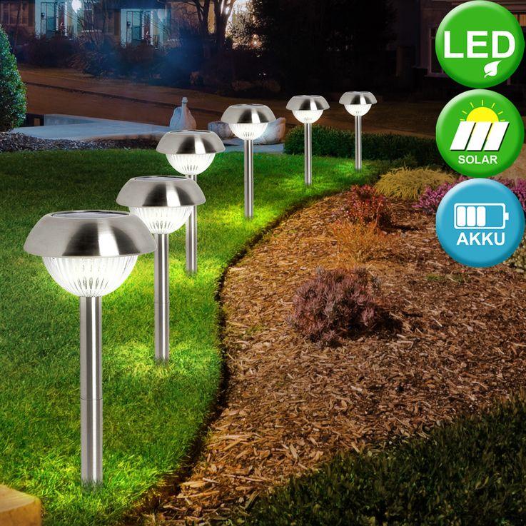 LED Solar Leuchte Erdspieß Edelstahl Beleuchtung Steck Lampe Außen Licht Eglo 86527 – Bild 3