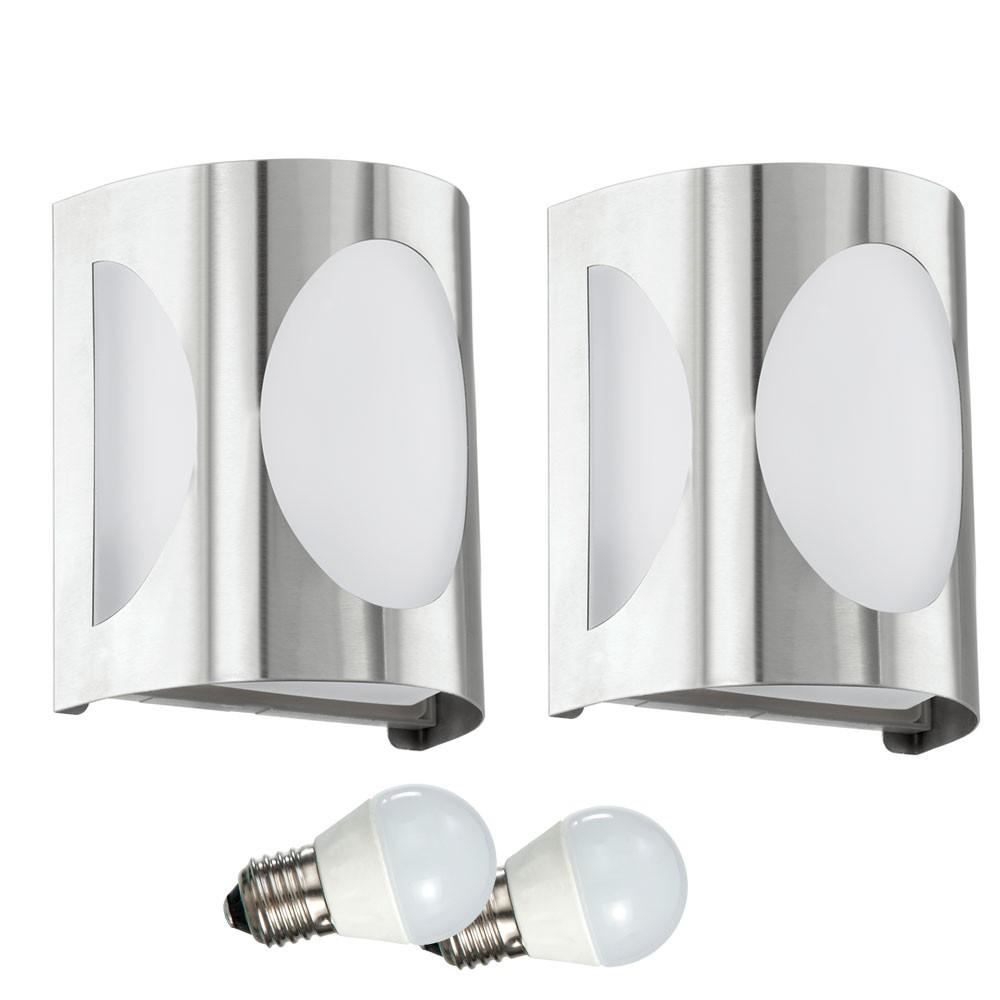 2er set wand au en leuchten led fassaden strahler hof lampen garten beleuchtung ebay. Black Bedroom Furniture Sets. Home Design Ideas
