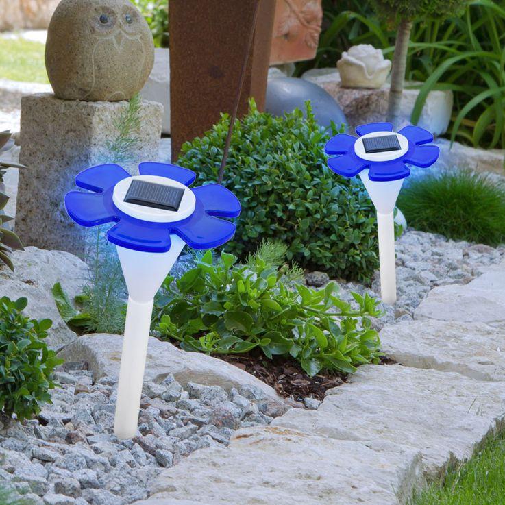 Lampe solaire LED fleur luminaire extérieur bleu borne Á piquer jardin terrasse – Bild 4