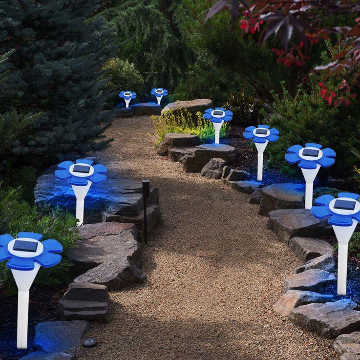 Lampe solaire LED fleur luminaire extérieur bleu borne Á piquer jardin terrasse – Bild 3