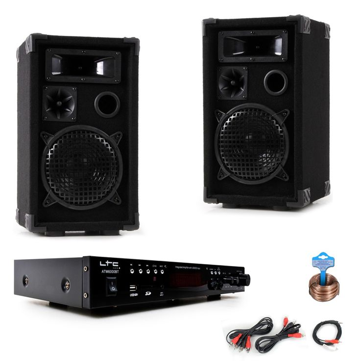 PA party compact stereo speakers amplifier USB MP3 SD Bluetooth DJ-compact 7 – Bild 1