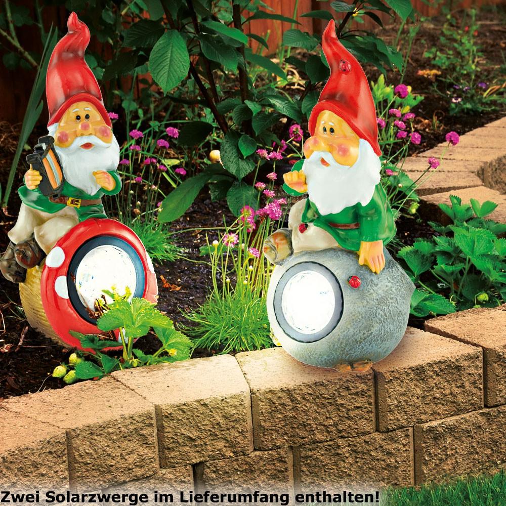 2er set led garten zwerg solar leuchten pilz deko stein for Garten deko leuchten