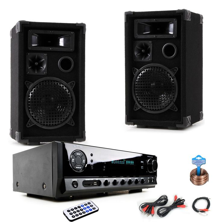 PA party compact stereo speakers amplifier USB MP3 SD Bluetooth DJ-compact 8 – Bild 1