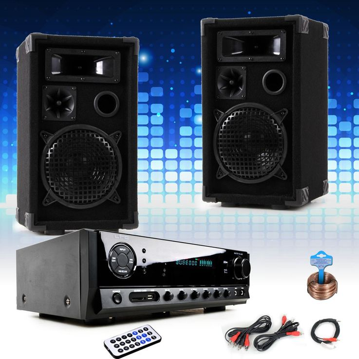 PA party compact stereo speakers amplifier USB MP3 SD Bluetooth DJ-compact 8 – Bild 2