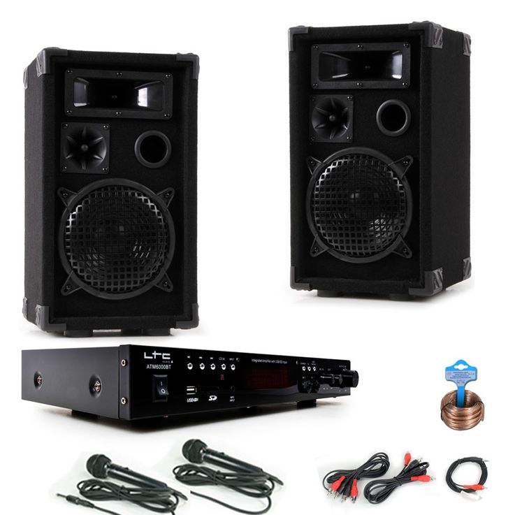 PA Party Système de musique compact Boxes Amplificateur USB MP3 SD Bluetooth 2x Microphone DJ  -Karaoke – Bild 1