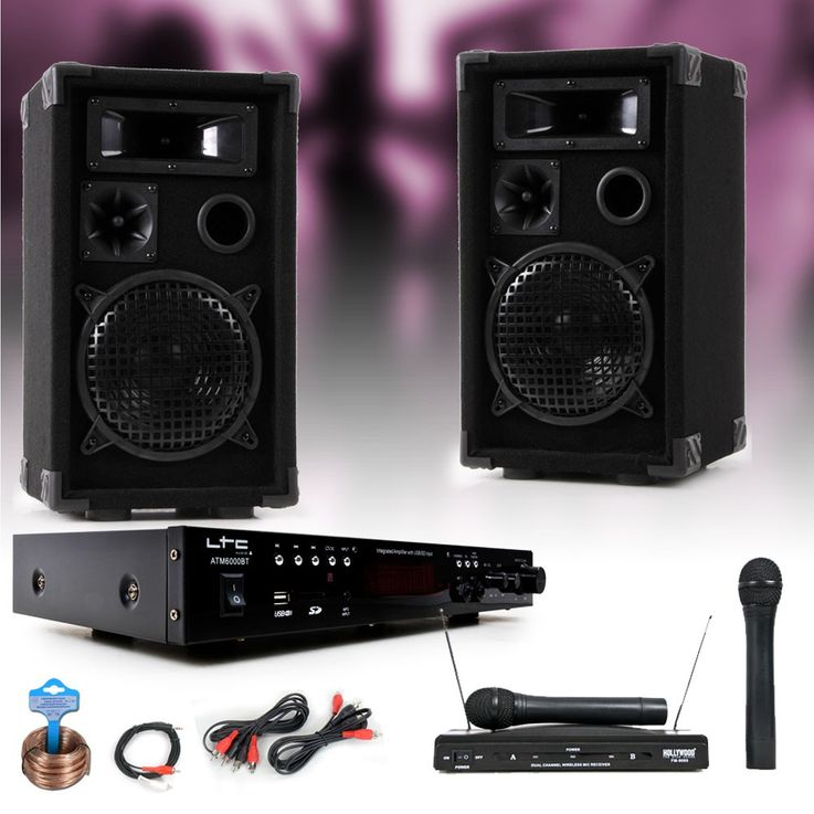 PA party music system speakers amp USB MP3 SD Bluetooth wireless microphone DJ-karaoke 2 – Bild 2