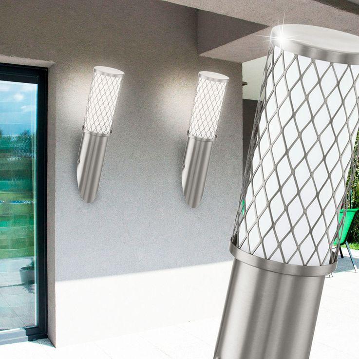 Wand Leuchte Strahler Edelstahl Beleuchtung E27 Außen Lampe IP44 Licht Eglo 92335 – Bild 5
