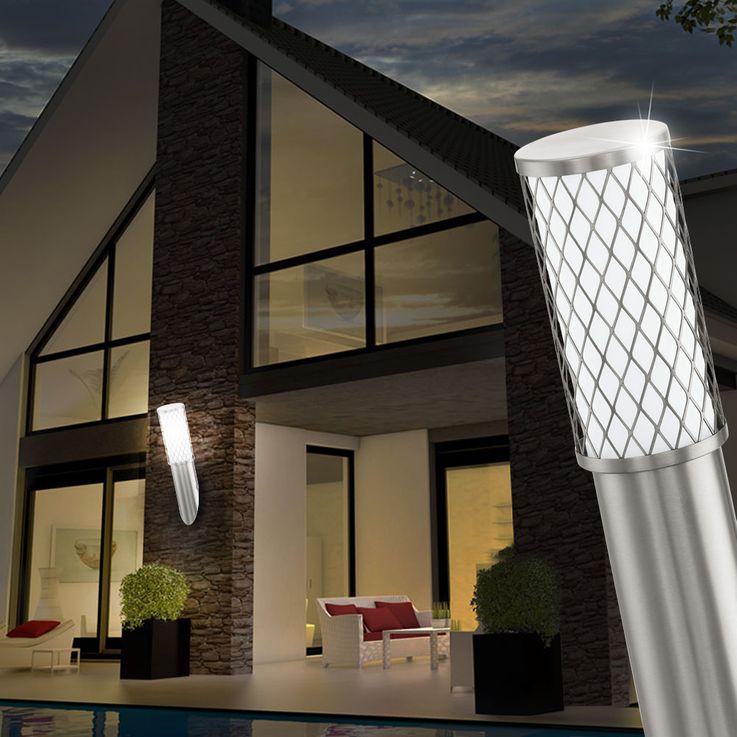 Wand Leuchte Strahler Edelstahl Beleuchtung E27 Außen Lampe IP44 Licht Eglo 92335 – Bild 4
