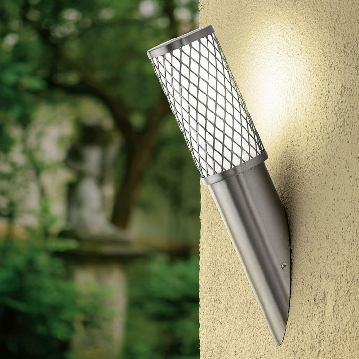 Wand Leuchte Strahler Edelstahl Beleuchtung E27 Außen Lampe IP44 Licht Eglo 92335 – Bild 2