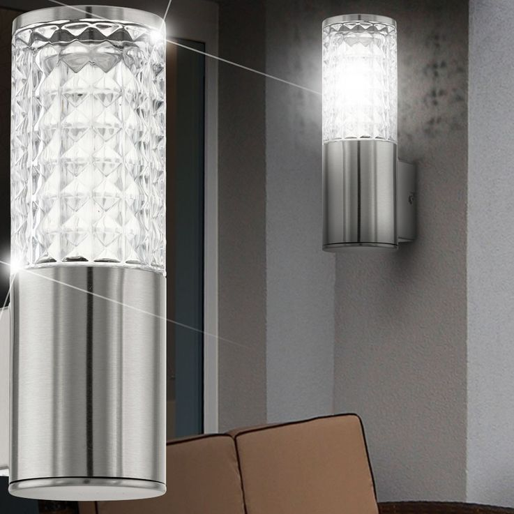 Design 3,7 Watt LED Außen Wand Lampe Edelstahl Glas klar Veranda Fassaden Leuchte Eglo 94131 – Bild 3