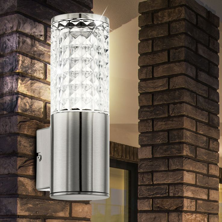 Design 3,7 Watt LED Außen Wand Lampe Edelstahl Glas klar Veranda Fassaden Leuchte Eglo 94131 – Bild 2