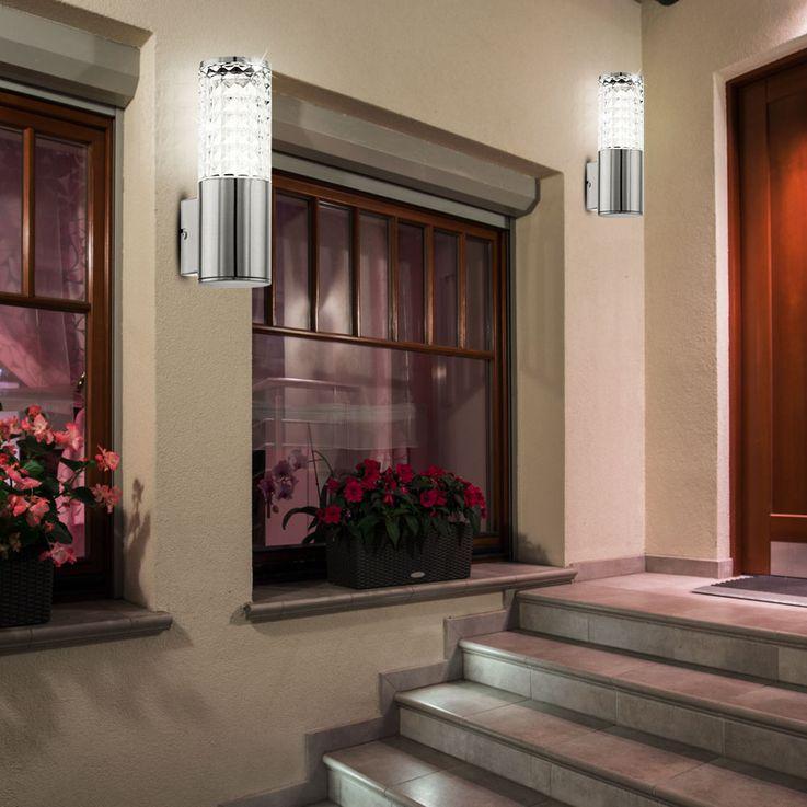 Design 3,7 Watt LED Außen Wand Lampe Edelstahl Glas klar Veranda Fassaden Leuchte Eglo 94131 – Bild 5