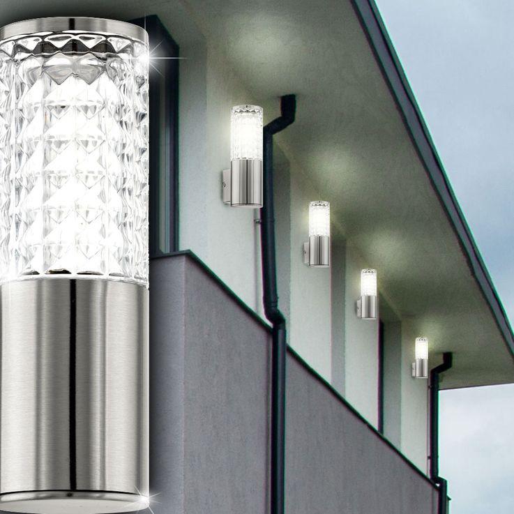 Design 3,7 Watt LED Außen Wand Lampe Edelstahl Glas klar Veranda Fassaden Leuchte Eglo 94131 – Bild 6