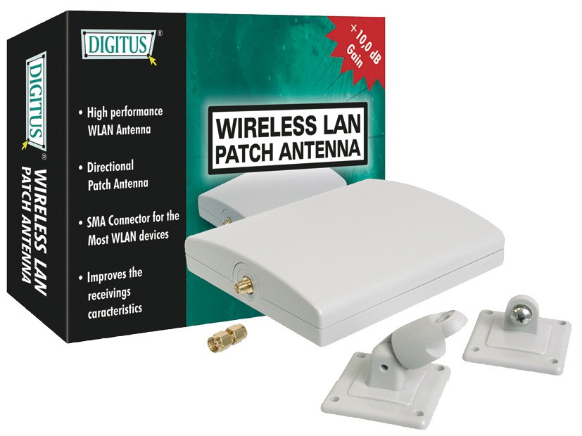 Wireless LAN Patch-Antenne DIGITUS Gain 10 dBi SMA Female Connector Dimension 127x108x27mm