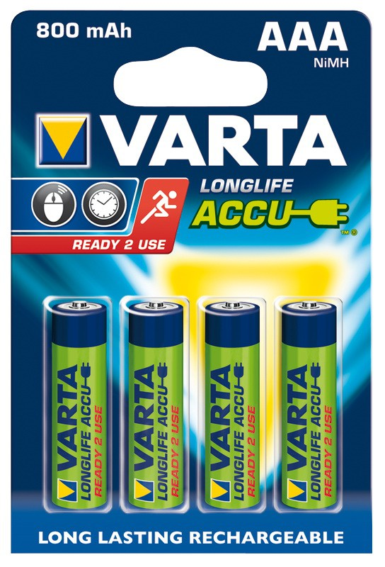 Micro-Akku VARTA LONGLIFE ACCU Ready2Use Ni-MH 800mA Typ AAA 4er Blister