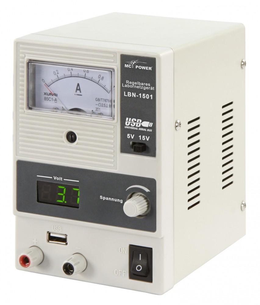 Labornetzgerät McPower LBN-1501 0-15V 0-1A 15 Watt 5V USB