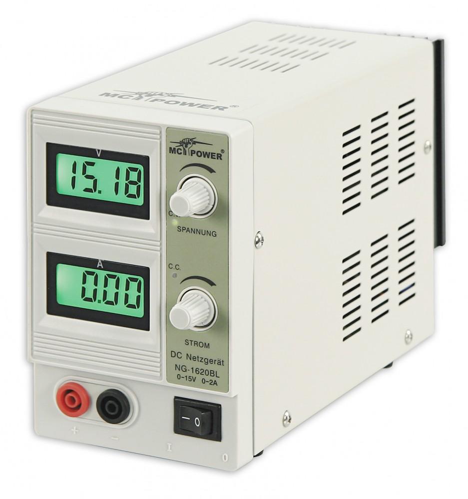 Labor-Netzgerät McPower NG-1620BL regelbar 0-15 V 2 A 2x beleuchtete LCDs 30 W