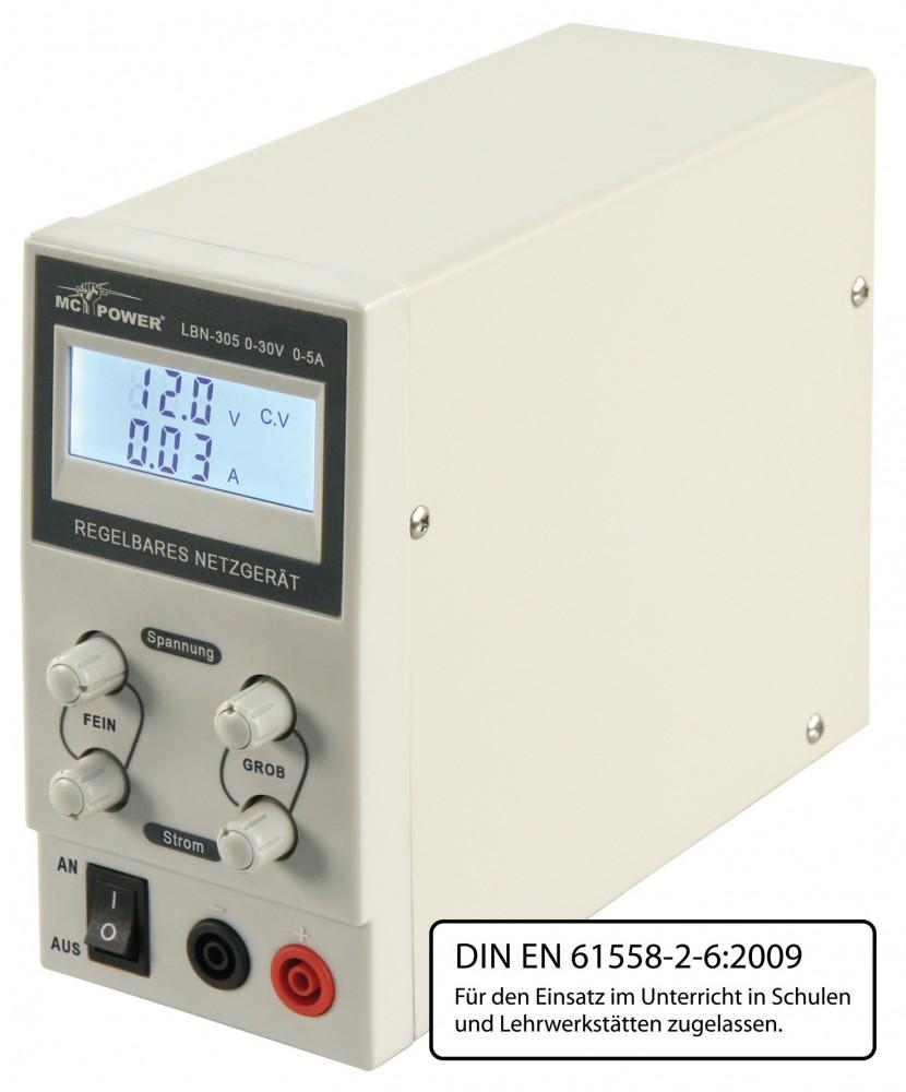 Labor-Netzgerät McPower LBN-305 0-30 V 0-5 A regelbar LCD-Anzeige