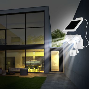 LED solar outdoor facades garden lamp adjustable sensor white 2 flame battery Globo 3723S – Bild 2