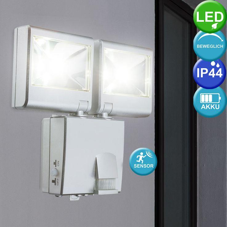 LED Außen Wand Lampe Spots beweglich Strahler Fluter IP44 Bewegungsmelder Batteriebetrieben Globo 3724S – Bild 3