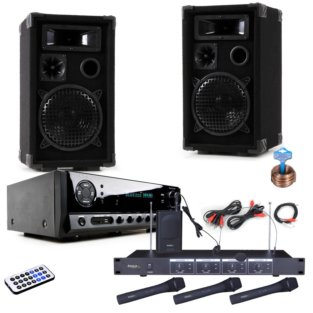 set mit pa boxen bluetooth verst rker 3 mikros dj karaoke 3 audio technik dj equipment. Black Bedroom Furniture Sets. Home Design Ideas