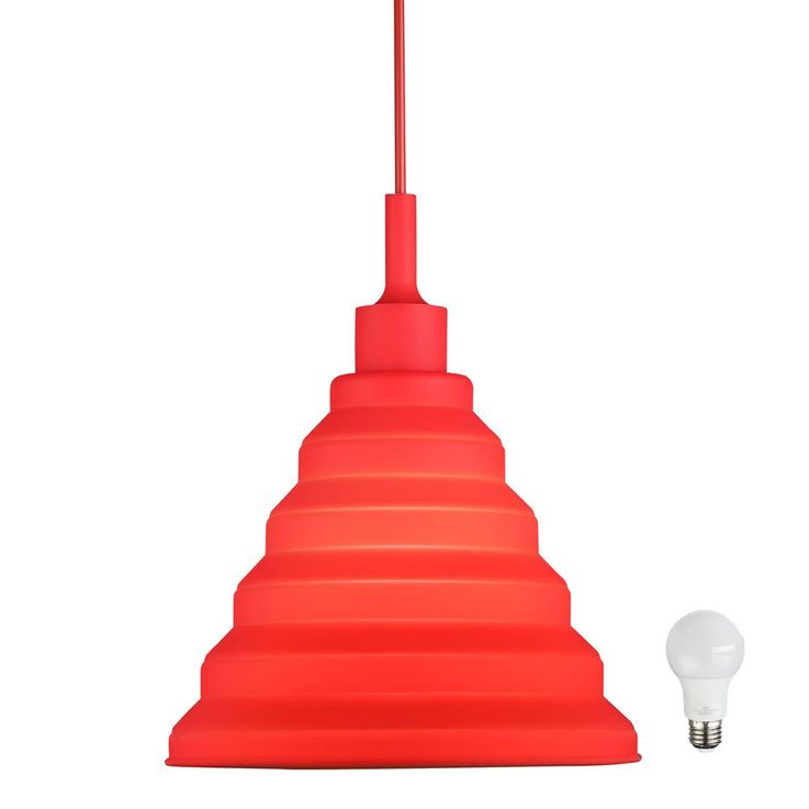 LED design pendant lamp in red for your four walls – Bild 1