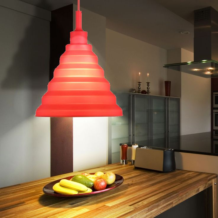 LED design pendant lamp in red for your four walls – Bild 2