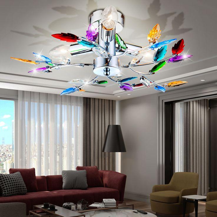 Florale Decken Lampe bunte Dekor Äste Küchen Leuchte Beleuchtung Globo 63102-3 – Bild 3