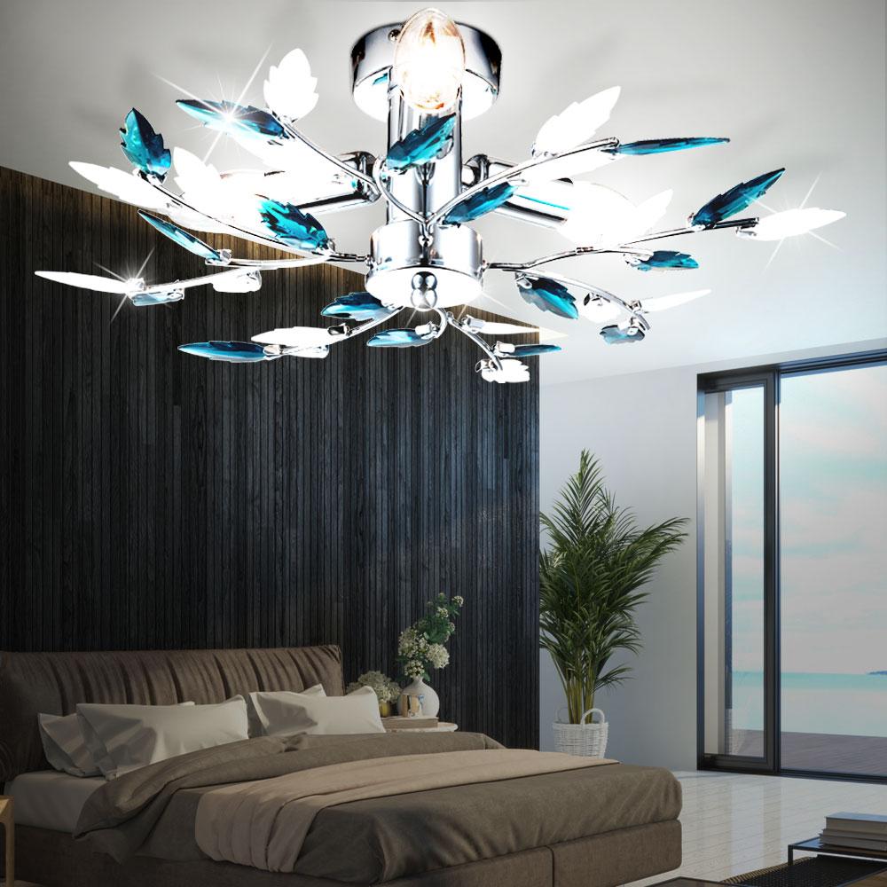 clairage plafonnier luminaire plafond chrome bras fleurs bleu salle de s jour lampes meubles. Black Bedroom Furniture Sets. Home Design Ideas
