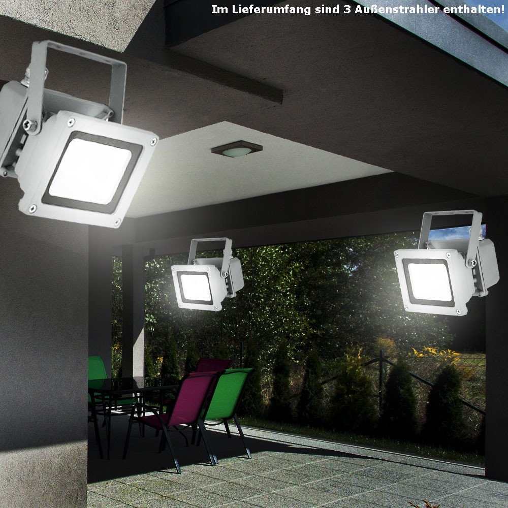 3er set 10 w led terrasse fluter bau strahler au en lampen glas spot schwenkbar 4260462311472 ebay. Black Bedroom Furniture Sets. Home Design Ideas
