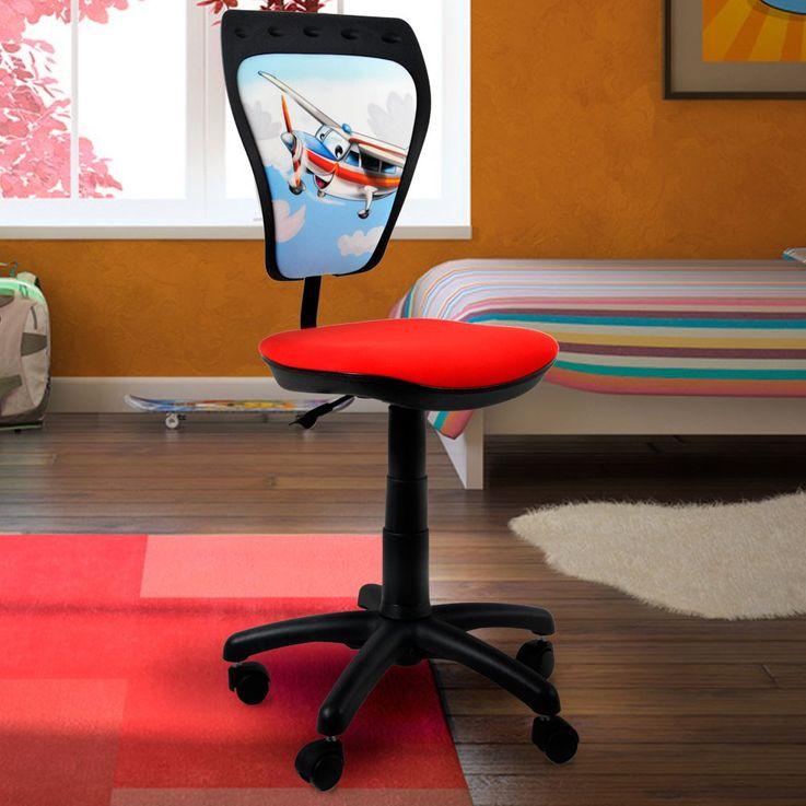 Ergonomic kids Rotary Chair plane motif back backrest padded mini Styl TS22 – Bild 2
