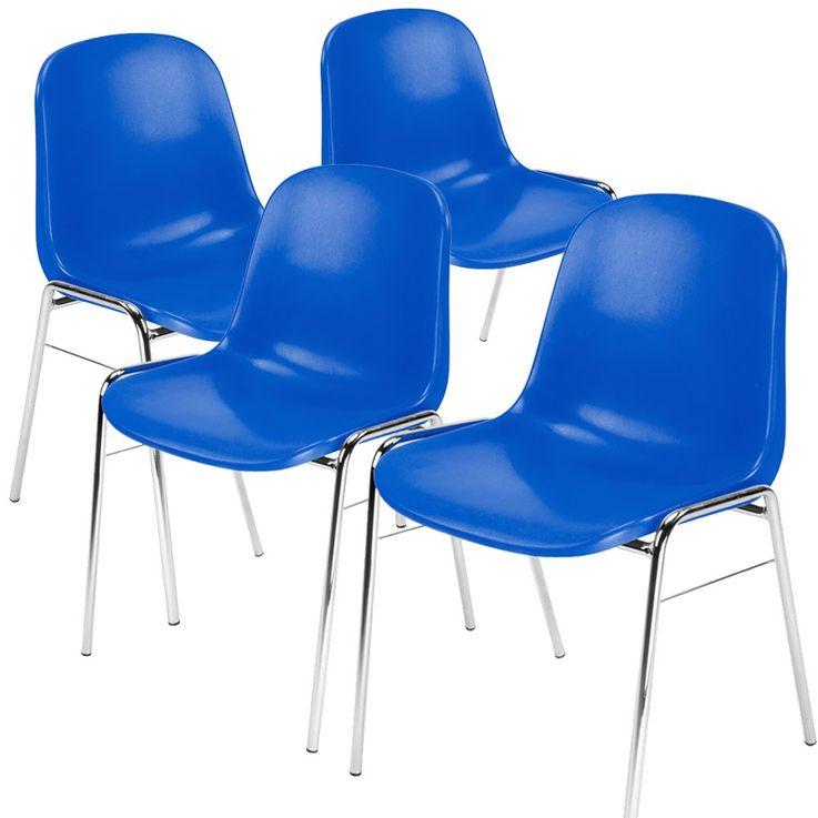 4er Set Besucher Stuhl Stühle Gastronomie Sitz stapelbar Höhe 77 cm Beta Chrom blau – Bild 1