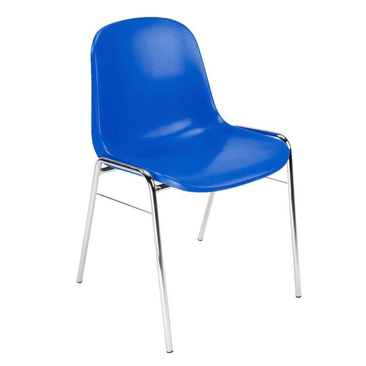 4er Set Besucher Stuhl Stühle Gastronomie Sitz stapelbar Höhe 77 cm Beta Chrom blau – Bild 4