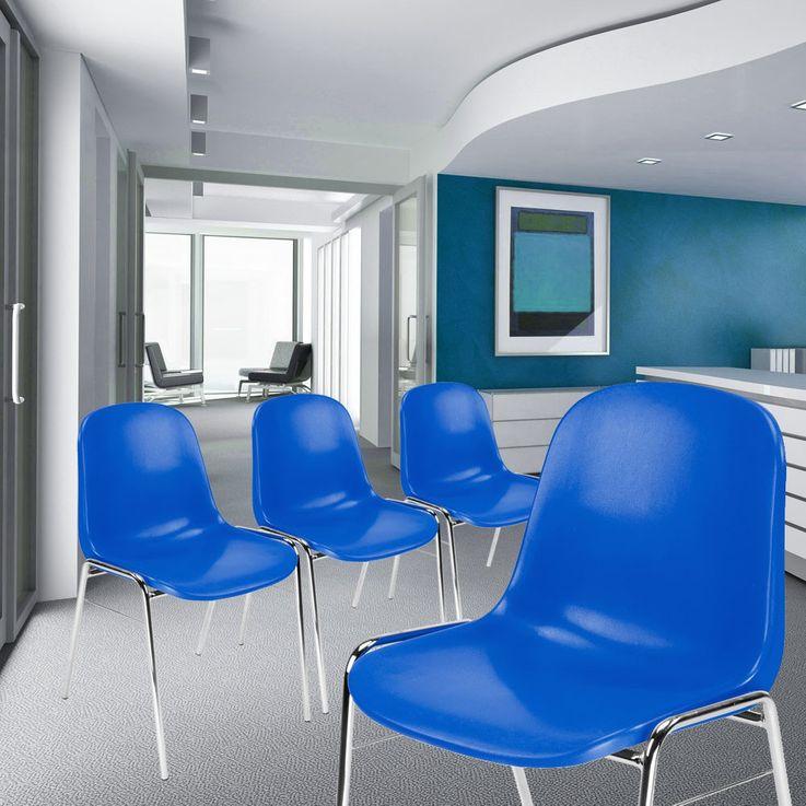 4er Set Besucher Stuhl Stühle Gastronomie Sitz stapelbar Höhe 77 cm Beta Chrom blau – Bild 2