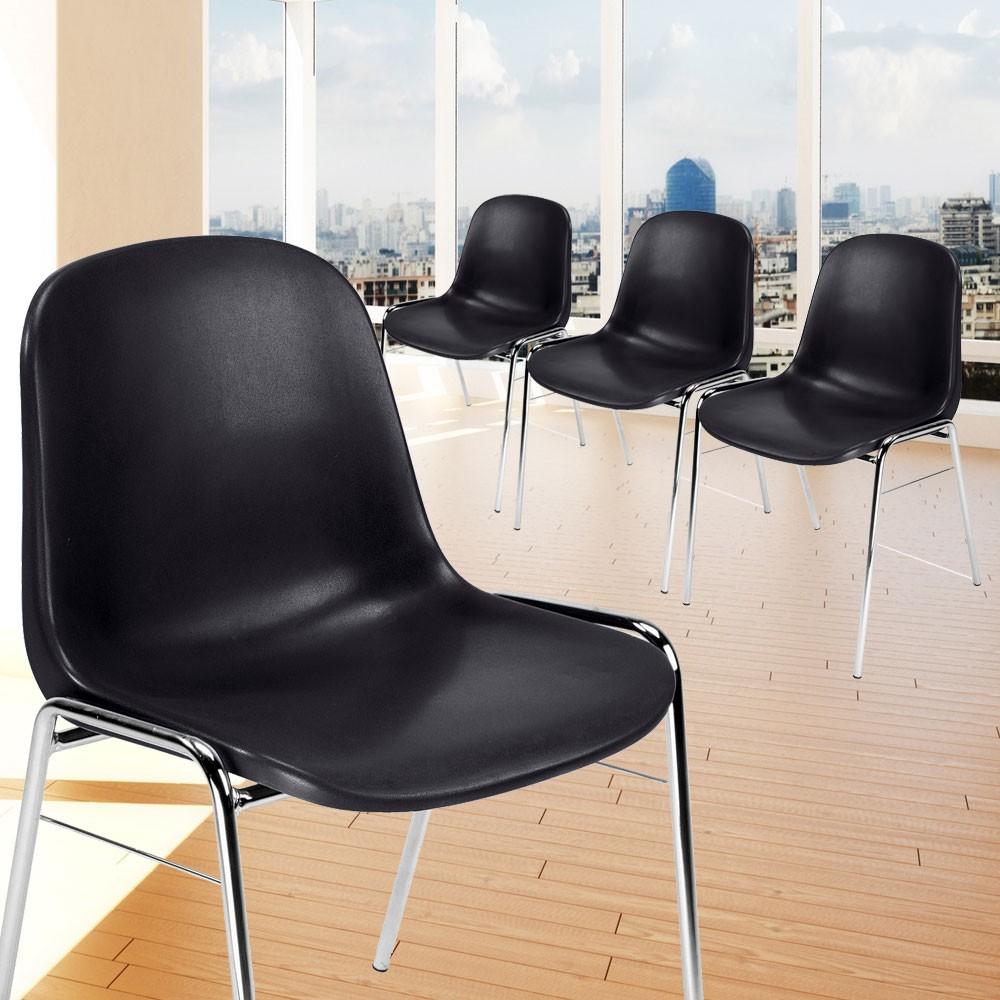 4er set st hle schwarz mit verchromten 4 bein gestellen lampen m bel m bel st hle. Black Bedroom Furniture Sets. Home Design Ideas