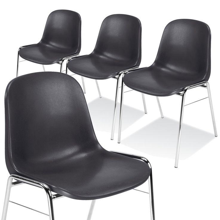 4er Set Besucher Stuhl Stühle Gastronomie Sitz stapelbar Höhe 77 cm Beta Chrom Schwarz – Bild 1