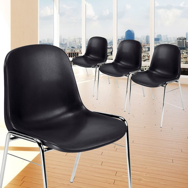 4 set visitors Chair Chairs Dining seat stacking height 77 cm beta chrome black – Bild 2