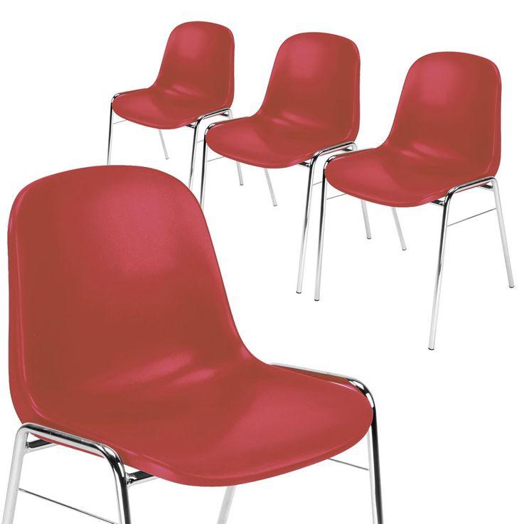 4er Set Besucher Stuhl Stühle Gastronomie Sitz stapelbar Höhe 77 cm Beta Chrom Rot – Bild 1
