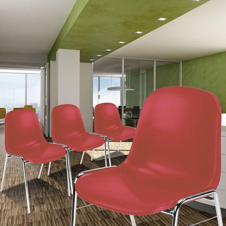 4er Set Besucher Stuhl Stühle Gastronomie Sitz stapelbar Höhe 77 cm Beta Chrom Rot – Bild 2