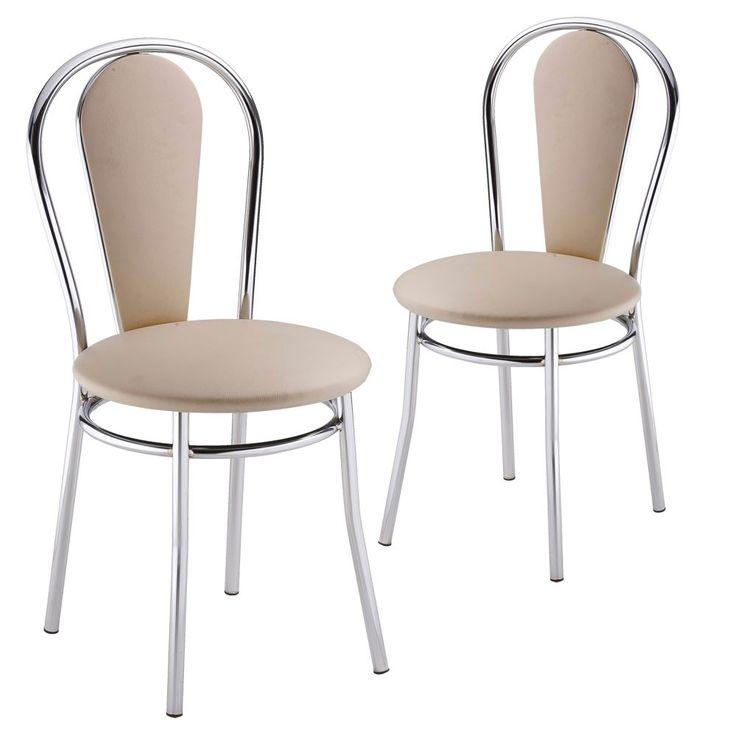 2er Set Komfort Restaurant Bestuhlung Bistro Kunstleder Stühle beige Nowy Styl 4L-CR-V 18N – Bild 1
