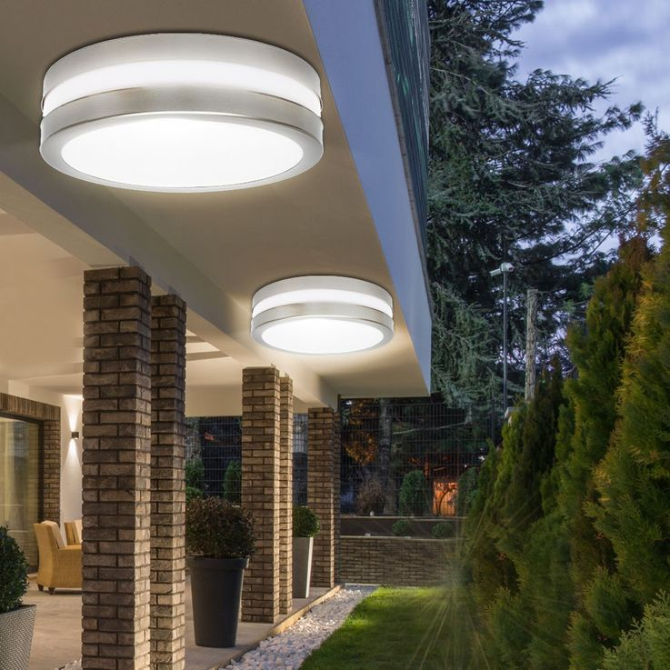 Outdoor ceiling lamp round silver white garden garage lighting socket 2xE27 IP44 Kanlux 8980 – Bild 2