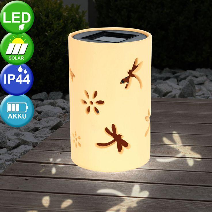 LED garden lamp stand solar lawn lamp balcony decorative tea light ceramic yellow Eglo 47638 – Bild 2
