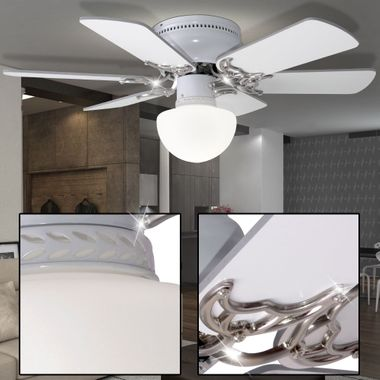 Cover fan room cooler fan lighting glass lamp cord switch Globo 03070 – Bild 5