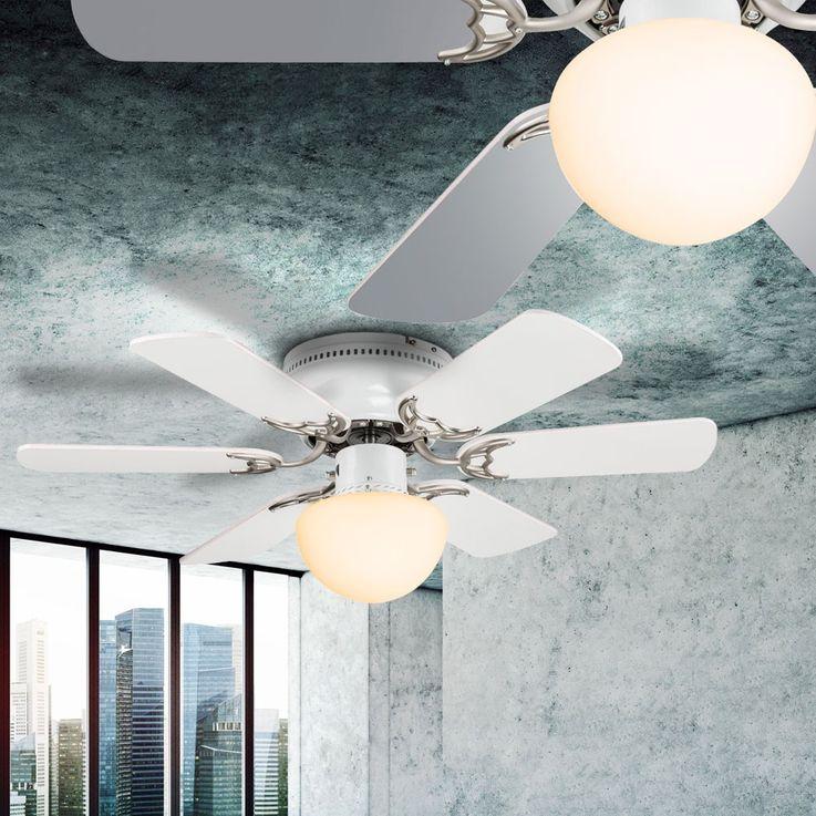 Cover fan room cooler fan lighting glass lamp cord switch Globo 03070 – Bild 9