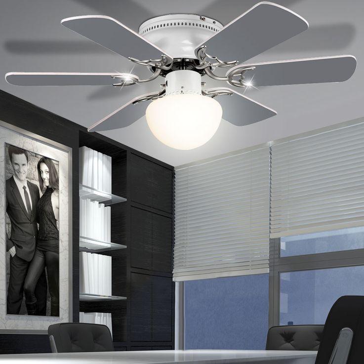 Decken Ventilator Raumkühler Lüfter Beleuchtung Glas Lampe Zugschalter Globo 03070 – Bild 8