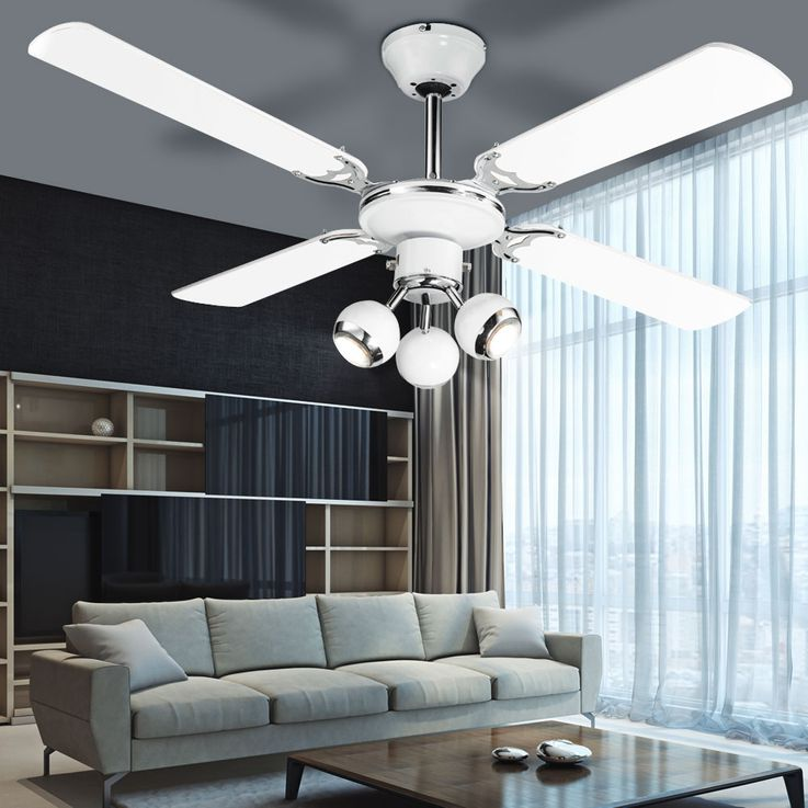 LED Retro ceiling fan housing fan lamp cooler moving spots Globo 03351 – Bild 5