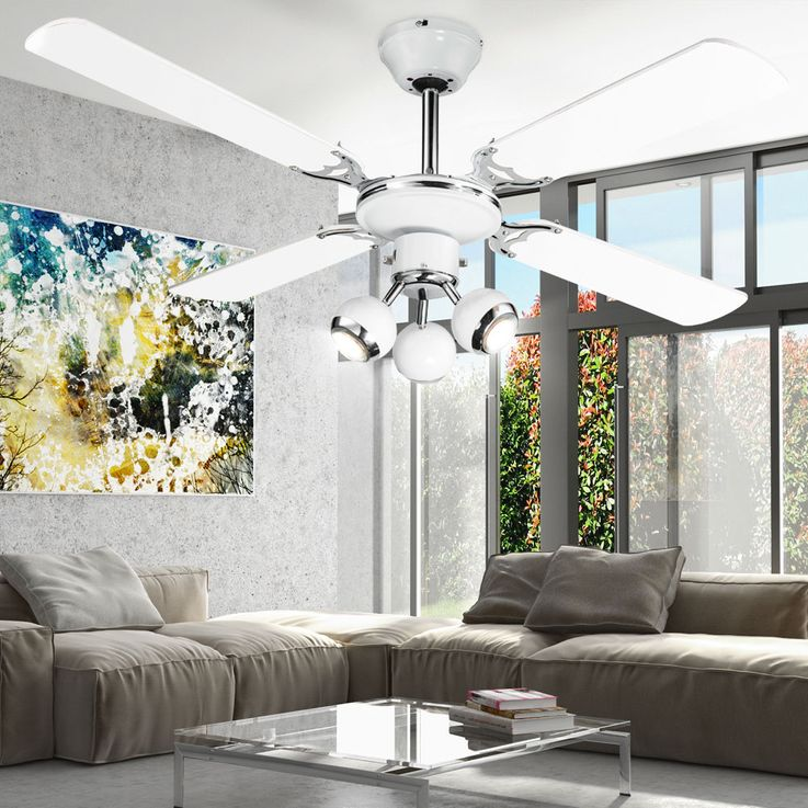 LED Retro ceiling fan housing fan lamp cooler moving spots Globo 03351 – Bild 4