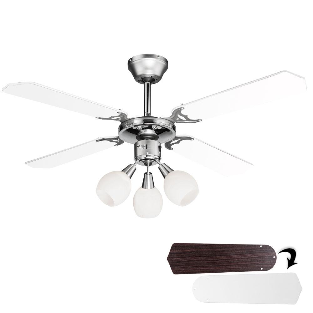 leiser decken ventilator 107 cm wei fl gel wind maschine mit kugel beleuchtung ebay