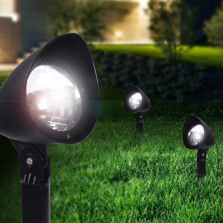 3er Set LED Solar Leuchten Steck Stand Lampen Erdspieß Beleuchtungen Globo 33027-3 – Bild 5