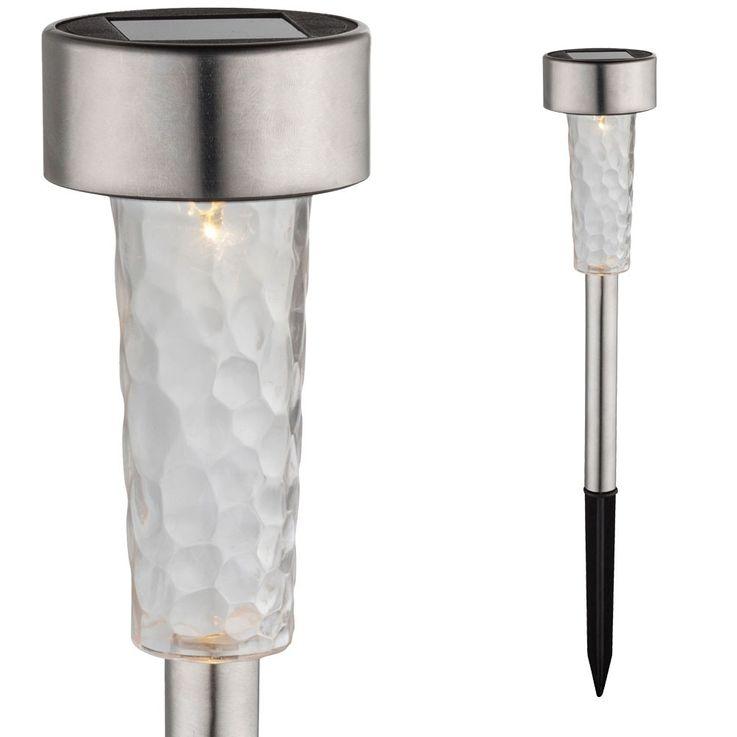 LED Solar Leuchte Steck Steh Lampe Edelstahl IP44 Beleuchtung satiniert Außen Licht Globo 33553-24 – Bild 1